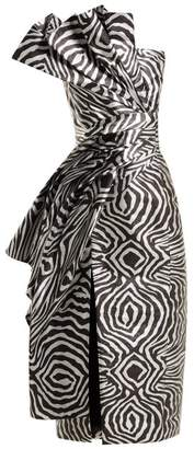 Halpern Metallic Zebra Bustier Midi Dress - Womens - Silver Multi