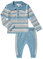 Angel Dear Take Me Home Multi-Stripe Polo w/ Joggers, Size 3-18 Months