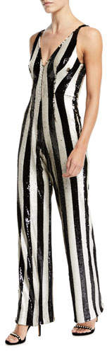 Dress the Population Bobbie Flip Sequin Stripe Jumpsuit