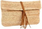 Hat Attack Raffia Crochet Clutch W/Braid Trim (Natural/Tobacco) Clutch Handbags