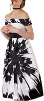 Closet Floral Bardot Dress, Black/White