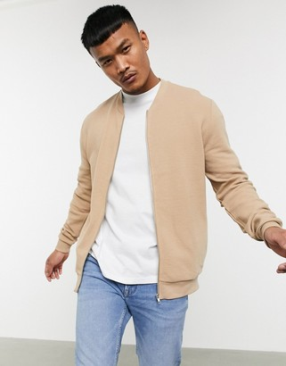 ASOS DESIGN jersey bomber jacket in beige ribbed fabric