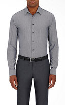 Giorgio Armani Men's Micro-Checked Cotton Shirt-GREY
