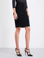Good American Slit-hem stretch-denim skirt
