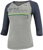 Wilson Outerstuff Women's Juniors Russell Heathered Gray/College Navy Seattle Seahawks Over the Line Player Name & Number Tri-Blend 3/4-Sleeve V-Notch T-Shirt
