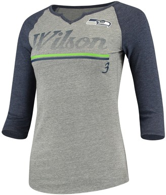 Wilson Women's Juniors Russell Heathered Gray/College Navy Seattle Seahawks Over the Line Player Name & Number Tri-Blend 3/4-Sleeve V-Notch T-Shirt
