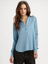 Silk Button-Placket Blouse