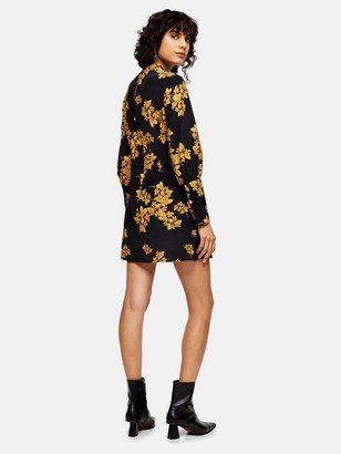 Topshop Oriental Bloom Mini Dress - Black