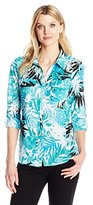 Notations Women's 3/4 Roll Tab Slv Printed Y Neck Utility Blouse