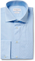 Richard James Blue Cutaway-Collar Cotton-Jacquard Shirt