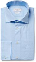 Richard James Blue Cutaway-collar Cotton-jacquard Shirt
