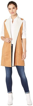 BCBGeneration Shearling Knit Long Vest TSA4196073 (Camel) Women's Clothing