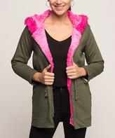 Khaki & Fuchsia Faux Fur-Trim Coat