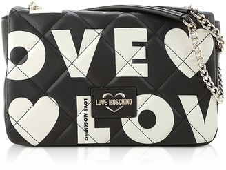 Love Moschino Black And White Signature Print Eco- Leather Shoulder Bag