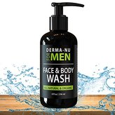 Daily Facial Cleanser & Body Wash for Men By Derma-nu - Moisturizing Body Wash + Face Wash for Men to Cleanse + Refresh + Energize Your Skin - Certified Organic & Natural Ingredients - 8oz