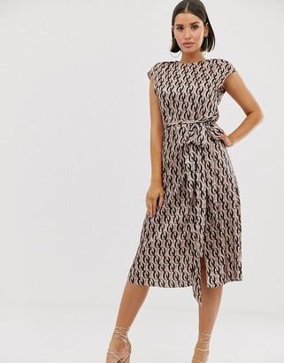 Asos Design DESIGN sleeveless modern midi dress with drape detail in monogram print-Multi