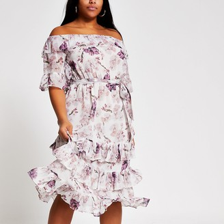 River Island Plus pink floral bardot ruffle midi dress