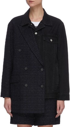 The Keiji Lame tweed blazer panel denim jacket