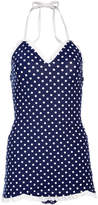 Bettie Page Navy & White Pin Dot Ruffle Halter One-Piece - Plus Too