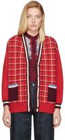 Miu Miu Red Oversized Windowpane Cardigan