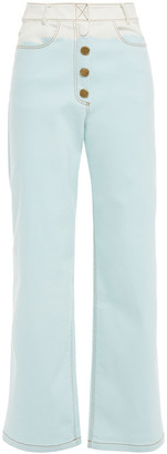 REJINA PYO Valerie Two-tone High-rise Wide-leg Jeans
