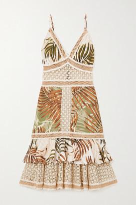 PatBO Palmeira Lace-trimmed Woven Midi Dress - Neutral
