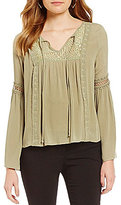 I.N. San Francisco Tie-Neck Bell-Sleeve Crochet-Trim Lace-Detail Peasant Top