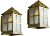 Rejuvenation Pair of Arts & Crafts Lantern Sconces w/ Brass Finish