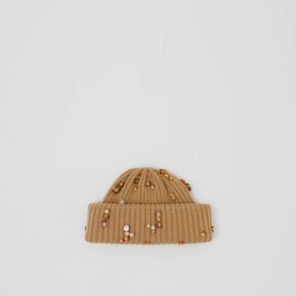 Burberry Embellished Rib Knit Wool Beanie
