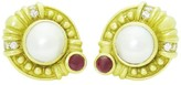 Judith Ripka 18K Yellow Gold Diamond Ruby & Pearl Clip Earrings