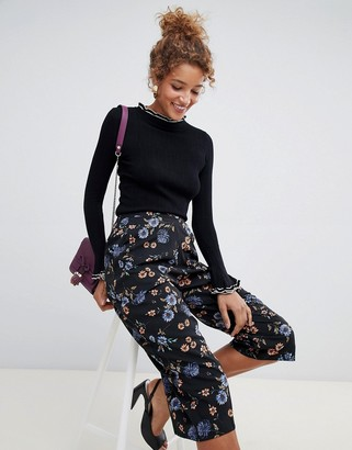 Influence floral wide leg trousers-Black