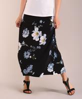 Lbisse Women's Maxi Skirts Black - Black & Gray Floral Maxi Skirt - Women