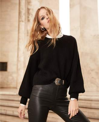The Kooples Black fine-rib sweater with crew neck