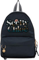See by Chloe Blue Satin Logo Backpack