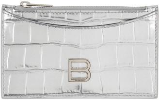 Balenciaga Silver Croc Long Hourglass Card Holder