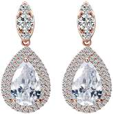 Lavencious Sapphire Tear Drop Dangle Earrings AAA CZ Luxury Jewelry Wedding Party for Bridal Silver Tone (Blue)