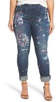 Melissa McCarthy Plus Size Women's 'Paint Splatter' Print Roll Cuff Stretch Skinny Jeans
