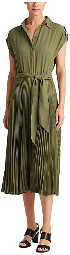 Lauren Ralph Lauren Pleated Shirtdress (Dark Sage) Women's Clothing
