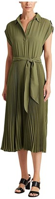 Lauren Ralph Lauren Pleated Shirtdress (Dark Sage) Women's Clothing