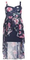 Quiz Curve Navy And Pink Floral Print Dip Hem Dress