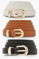 Thumbnail for your product : boohoo Plus 3 Pack Skinny Belt