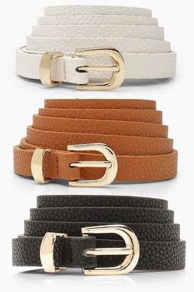 boohoo Plus 3 Pack Skinny Belt