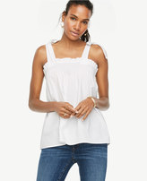 Ann Taylor Bow Shoulder Poplin Top