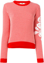 Fendi floral sleeve sweater - women - Cotton/Wool - 38