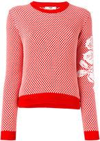 Fendi floral sleeve sweater - women - Cotton/Wool - 40