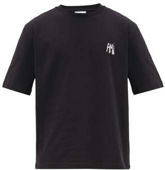 Ami Logo-embroidered Cotton-jersey T-shirt - Mens - Black