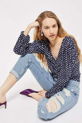 Topshop Womens Bleach Super Ripped Hayden Jeans - Mid Stone