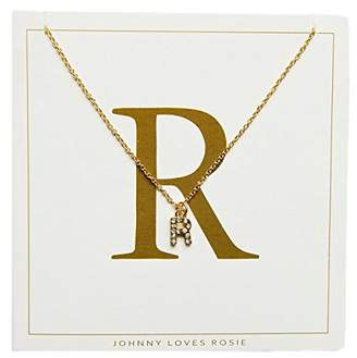 Johnny Loves Rosie Women Gold Plated Glass Chain Necklace of Length 48cm R Initial Gift Card