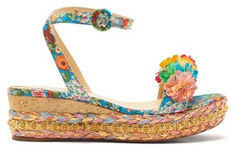 Christian Louboutin Ariellasevillana 60 Studded Satin Flatform Sandals - Multi