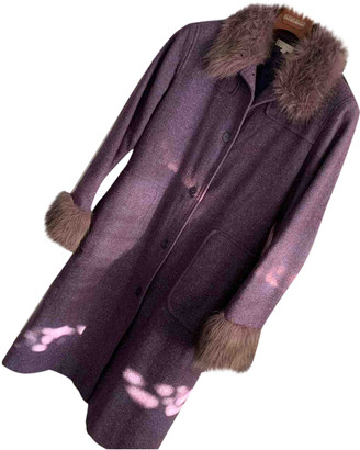 Non Signé / Unsigned Non Signe / Unsigned Hippie Chic Purple Wool Coat for Women